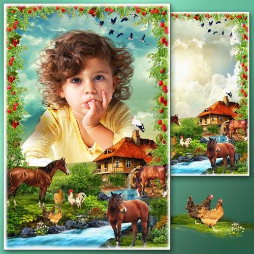 Детская рамка для фотошопа - Ура! Каникулы