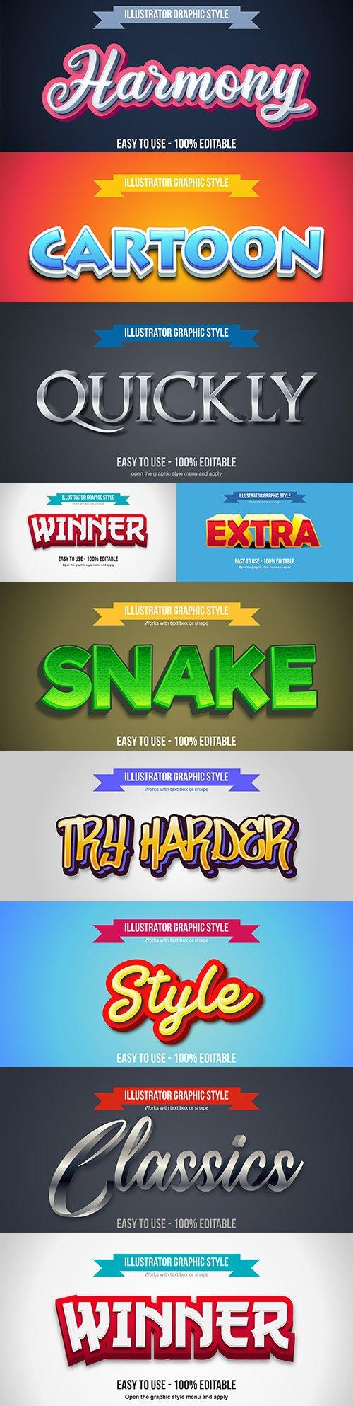 Editable font effect text collection illustration design 110
