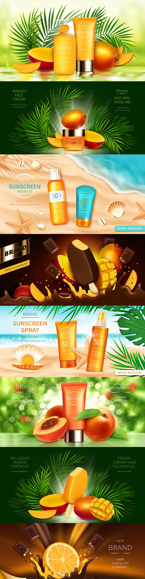 Fruit cosmetics for body care realistic illustrations