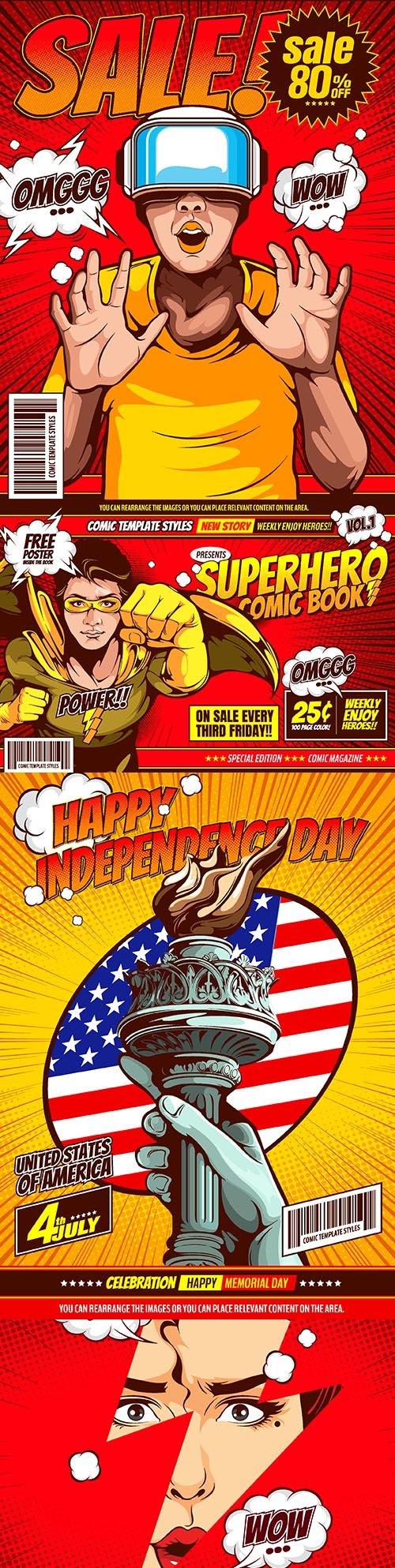 Superhero comic book covers pop art design