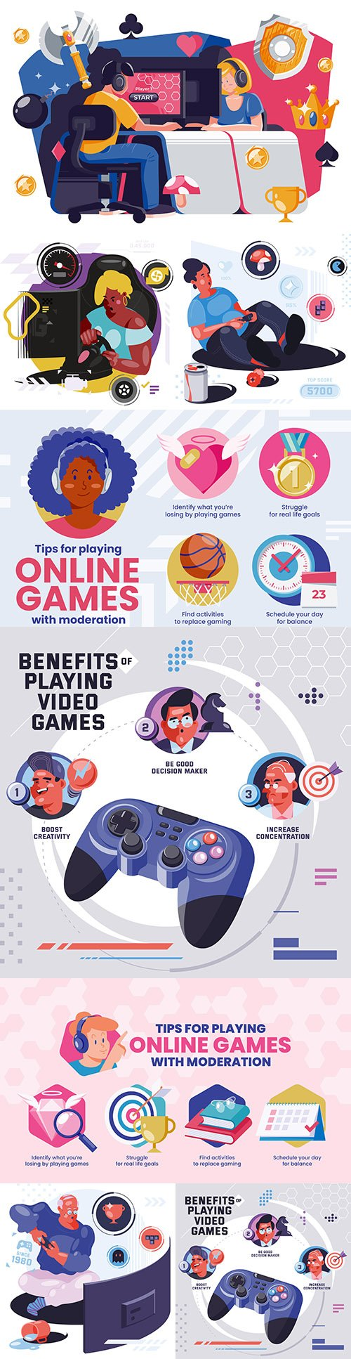 Characters playing video game and addiction to online games