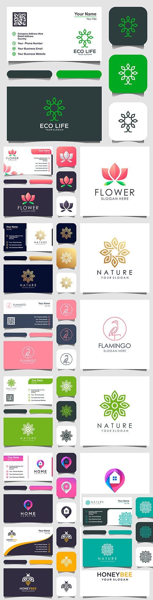 Logo design and business card minimalist elegant element 3