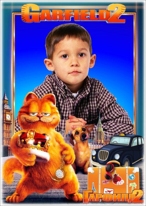 Детская рамка для фотошопа - Любимые сказочные герои мультфильмов 7. Гарфилд 2