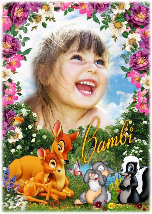 Детская рамка для фотошопа - Любимые сказочные герои мультфильмов 10. Бэмби 2