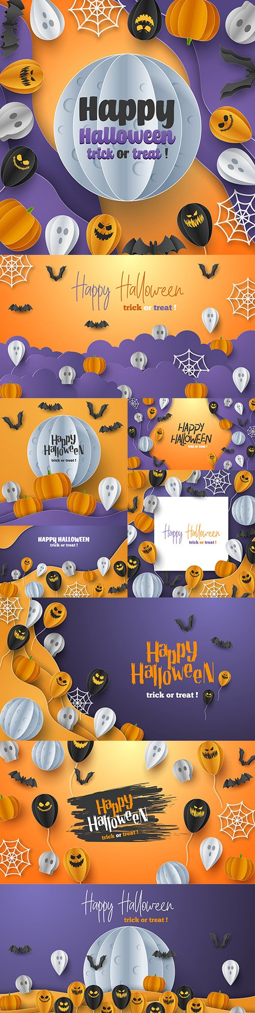 Happy Halloween holiday banner illustration collection