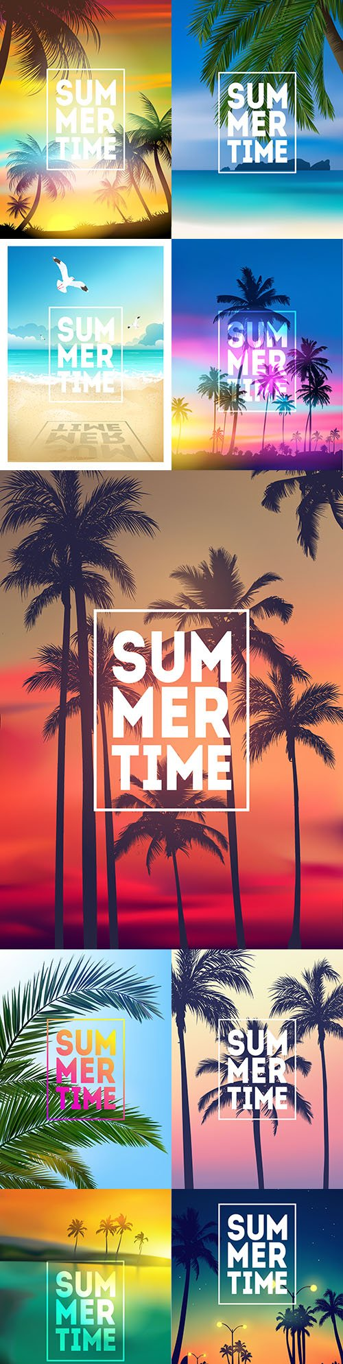 Summer tropical background with palm trees and sunset