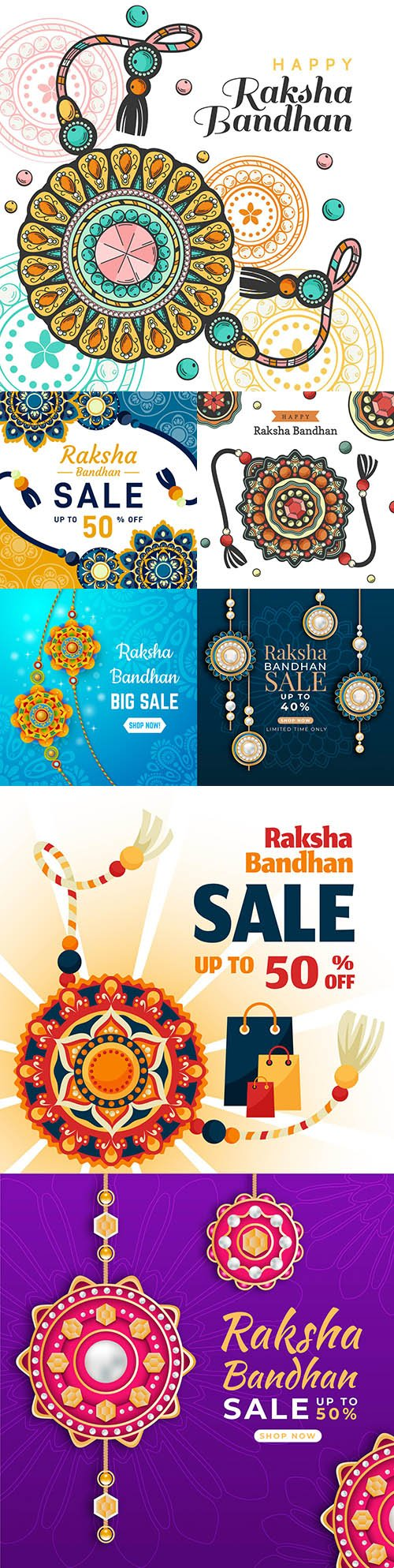 Raksha Bandhan Indian Holiday sale Flat Design Illustration