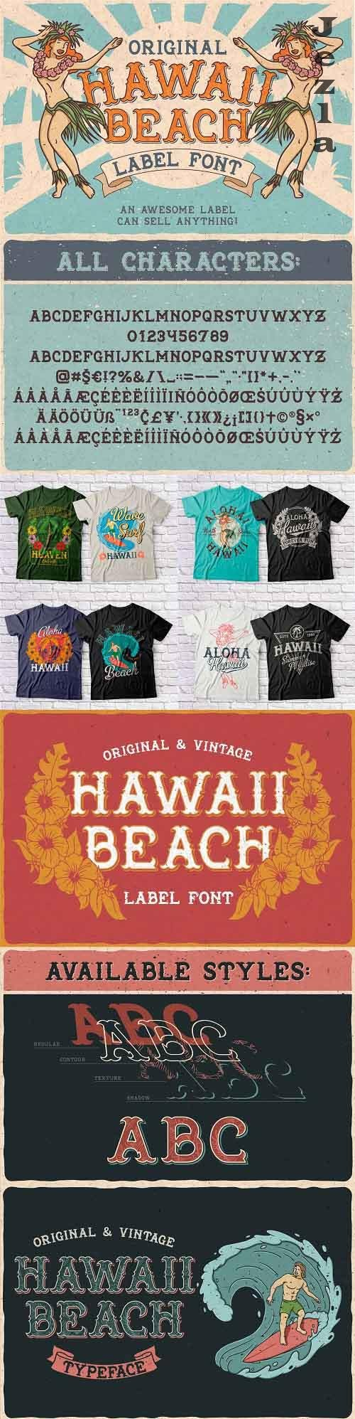 Hawaii Beach. Font & T-shirts - 24658585 - 4101621