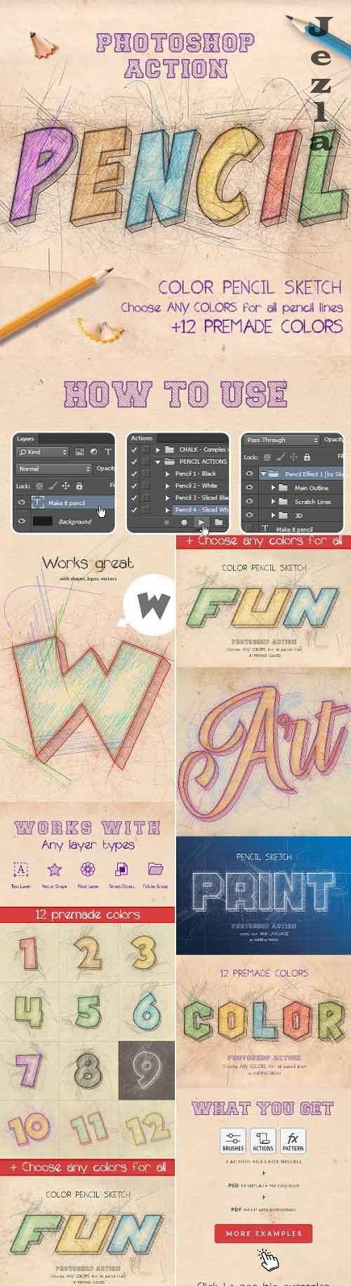 Color Pencil Sketch - PHSP Actions 27194012