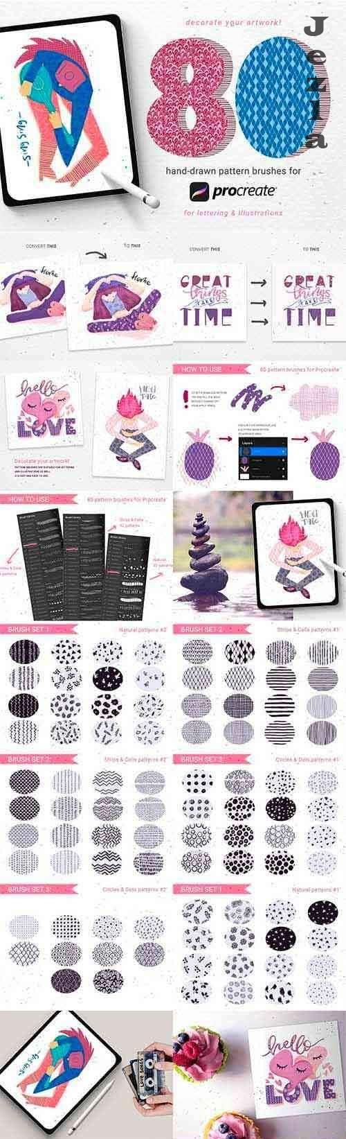 80 hand-drawn patterns for Procreate 5091208