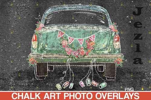 Wedding Chalk art Overlay, Just Married Chalk overlay  - 709551