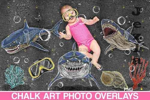 Sidewalk Chalk art Overlay, Baby Shark backdrop and Beach - 709661