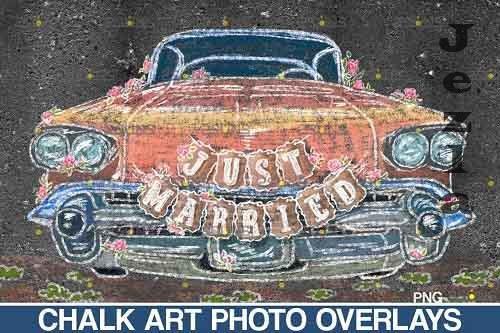 Wedding Chalk art Overlay, Just Married Chalk overlay - 709559