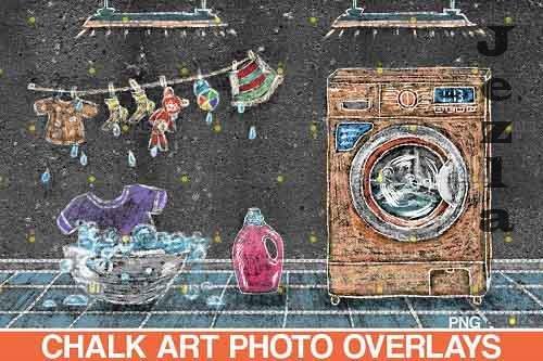 Sidewalk Chalk art Overlay, Laundry backdrop and washhouse  - 709632