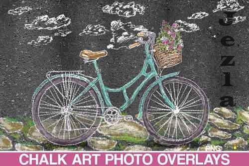 Sidewalk Chalk art Overlay, Bicycle backdrop and bicicleta - 709609