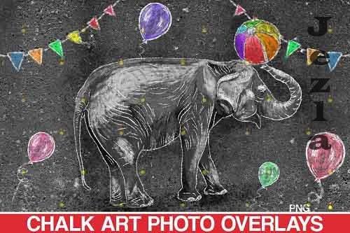 Sidewalk Chalk art Overlay, Elephant backdrop and circus  - 709645