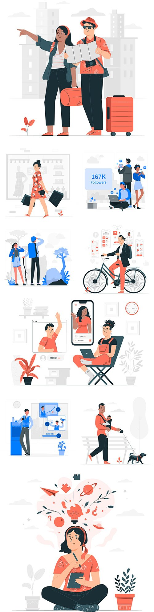 Communication people and different life situations concept illustrations