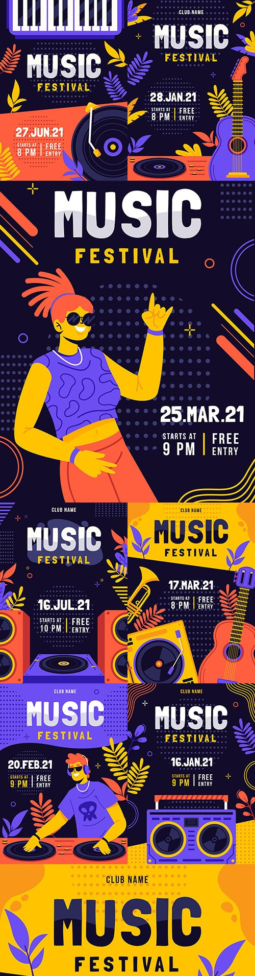 Music festival illustrated bright poster template