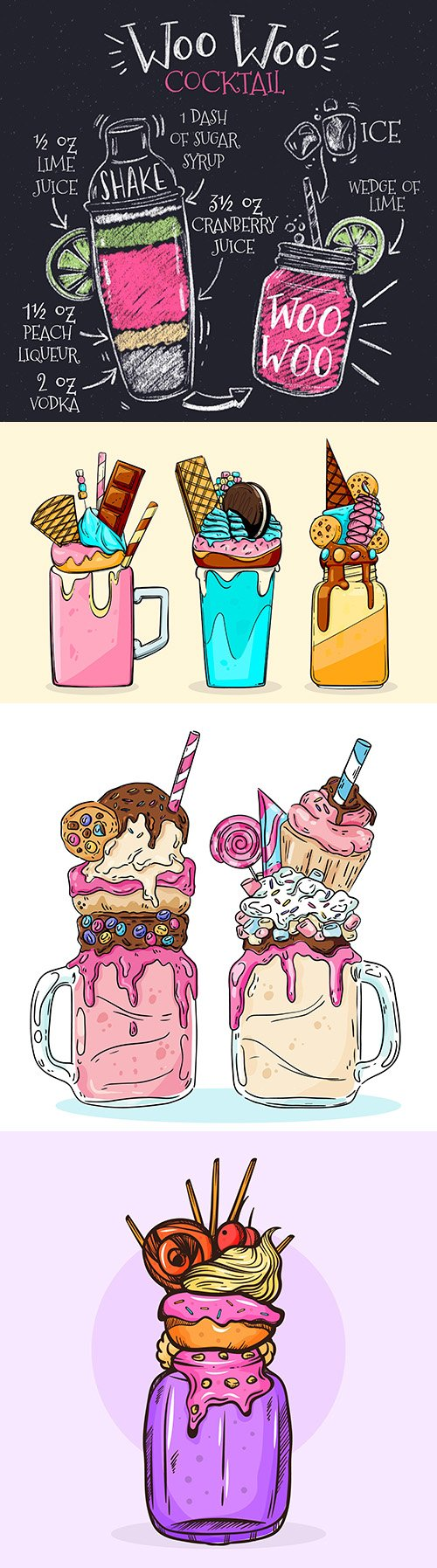 Classic cocktail recipe and monster shakes illustrations