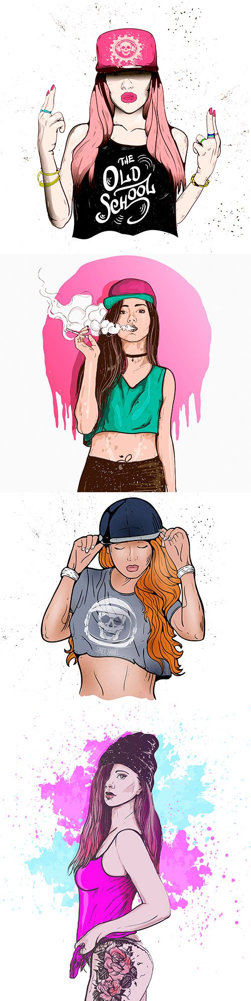 Fashion and stylish young girl in cap rap style illustrations