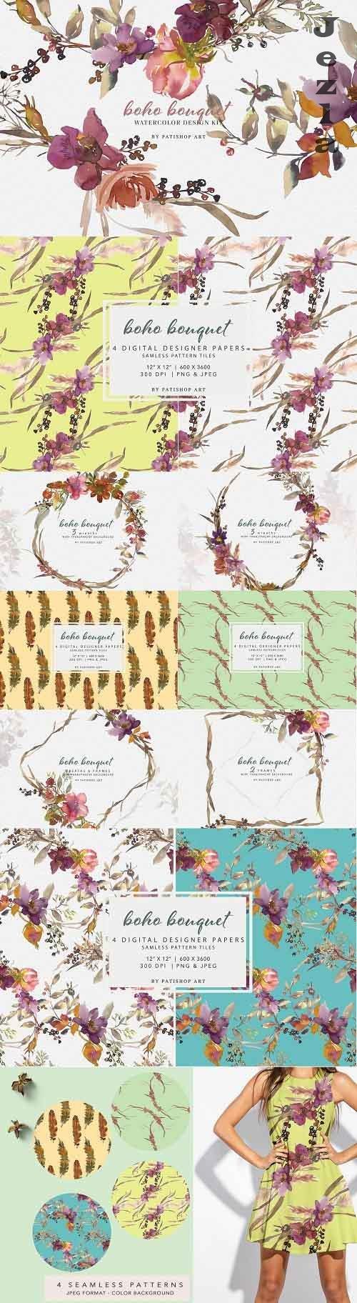 Watercolor Boho Floral Clipart Set - 5115684