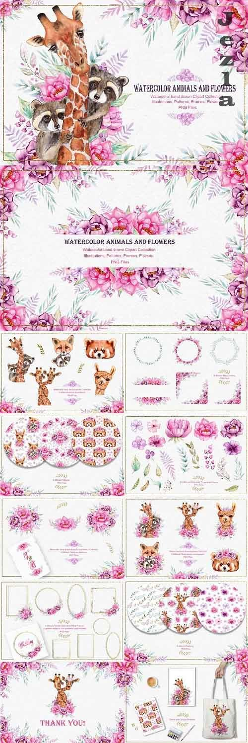 Watercolor Animals and Flowers - 5133489