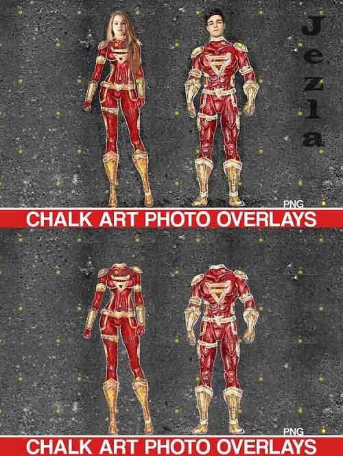 Sidewalk chalk overlay comics, superhero overlay tiza - 709616