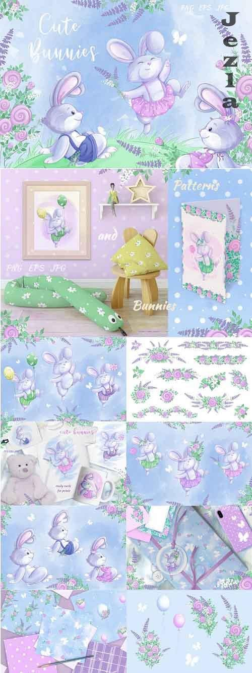 Cute Bunnies and Flowers - 712512