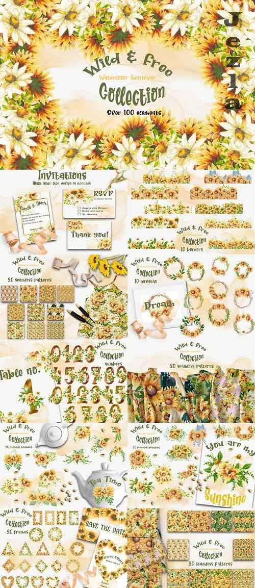 Wild & Free - Watercolor Sunflower Collection  - 709262