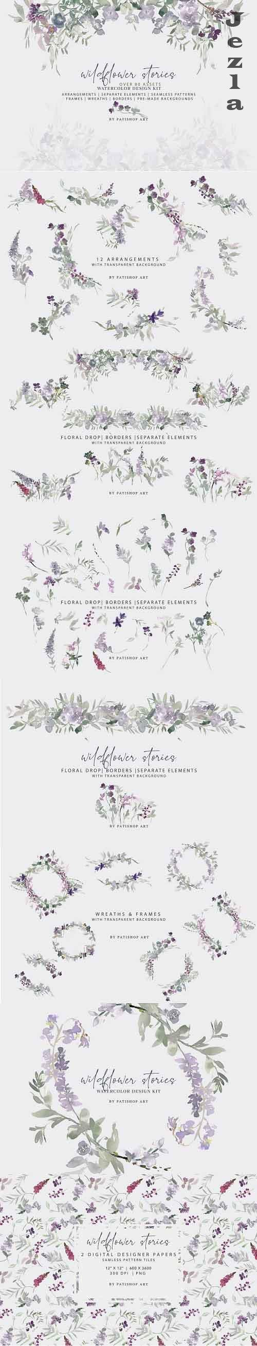 Watercolor Wildflower Clipart Set - 5133591