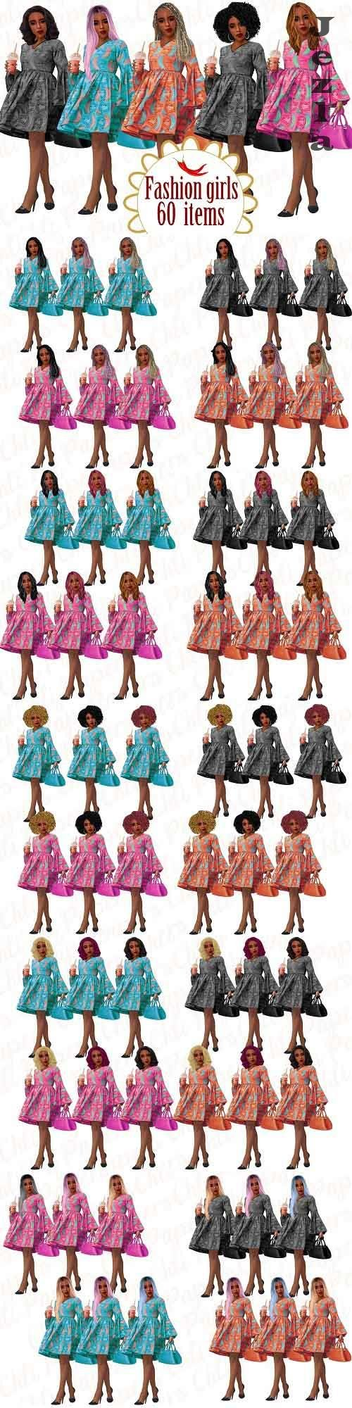 Fashion girl clipart,Afro girl clipart - 5135039
