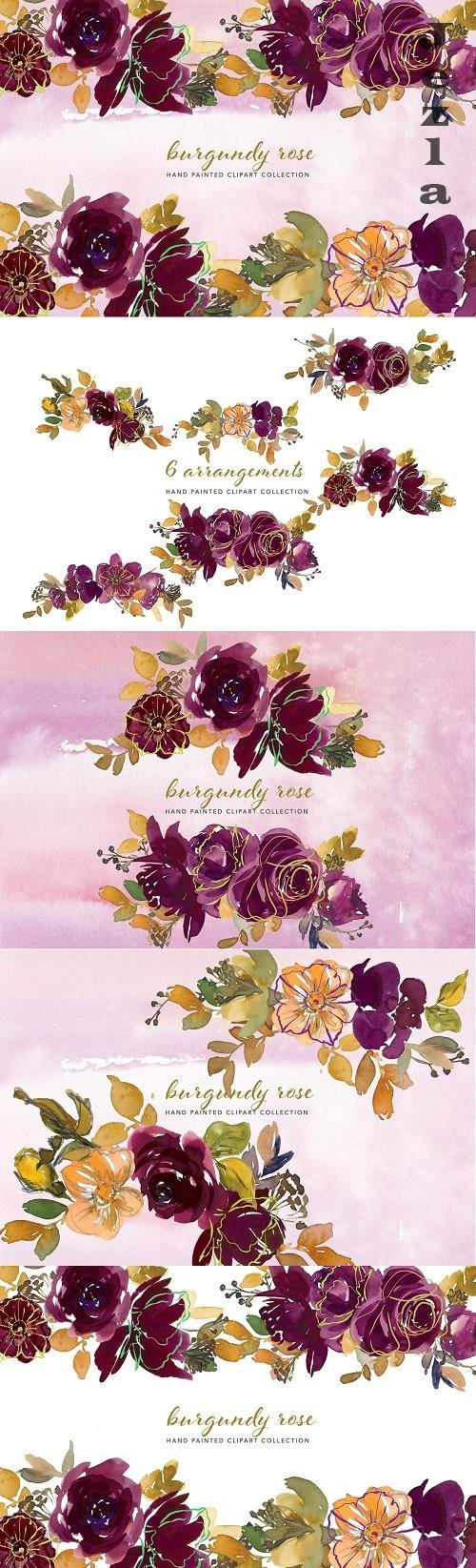 Watercolor Burgundy Floral Clipart - 5136891