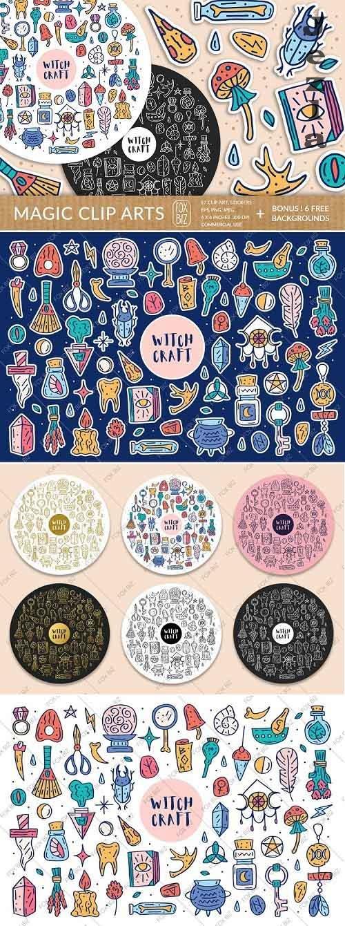 Magic clipart. Digital prints, stickers. Hand drawn vectors - 711656