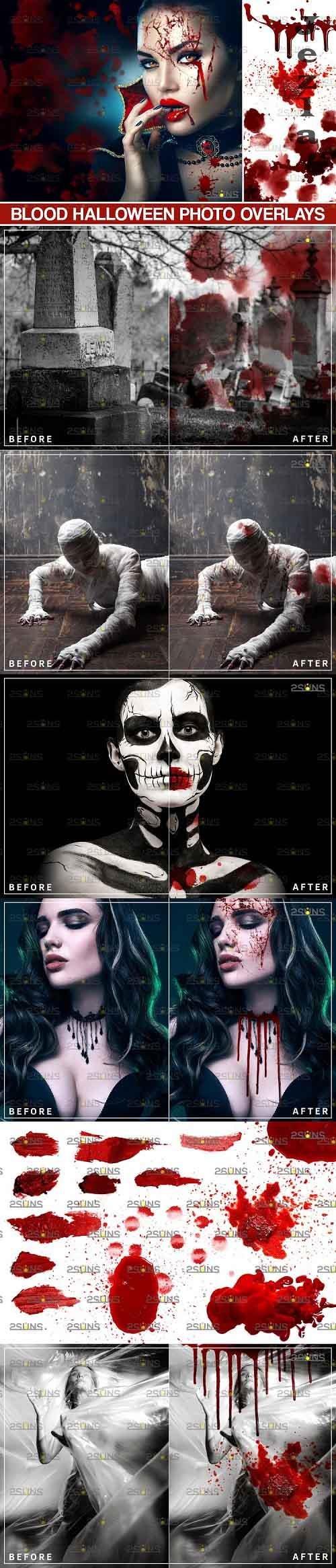 Blood Photo Overlay, Halloween overlay, blood splatter  - 719311