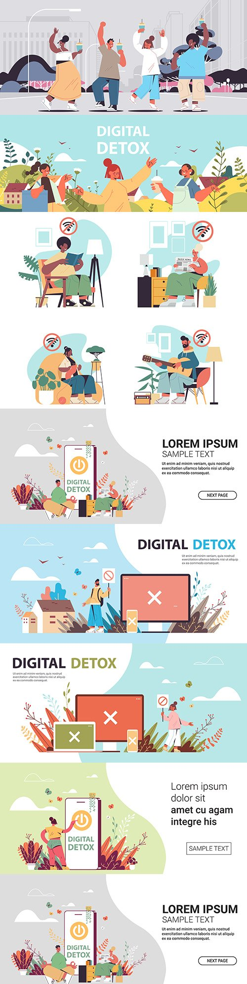 People walk and spend time without gadgets digital detox