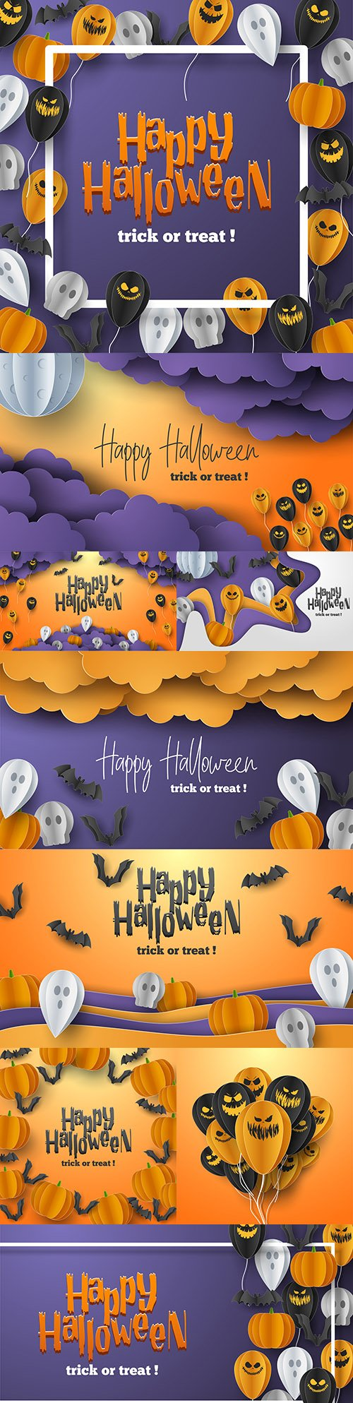 Happy Halloween holiday banner illustration collection 2
