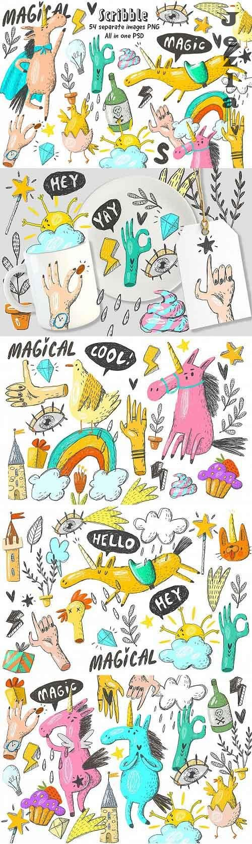 Doodle unicorns and scribble set  - 87894