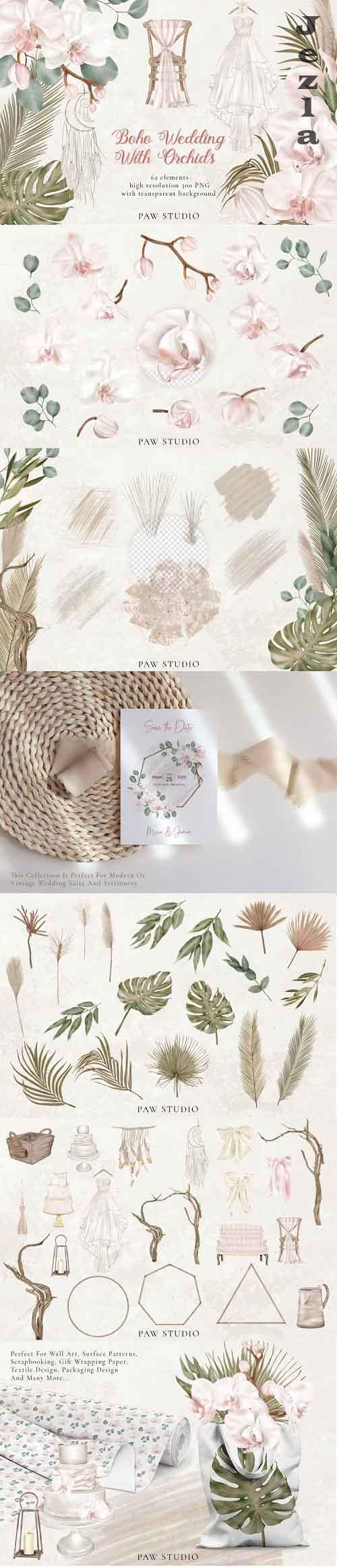 Orchids Boho Wedding Decor Flowers Dry Leaves Clipart  - 719213