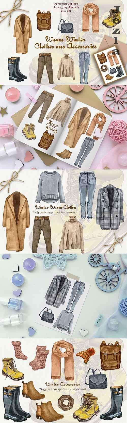 Winter Fashion Clip art. Watercolor set 600dpi - 379557