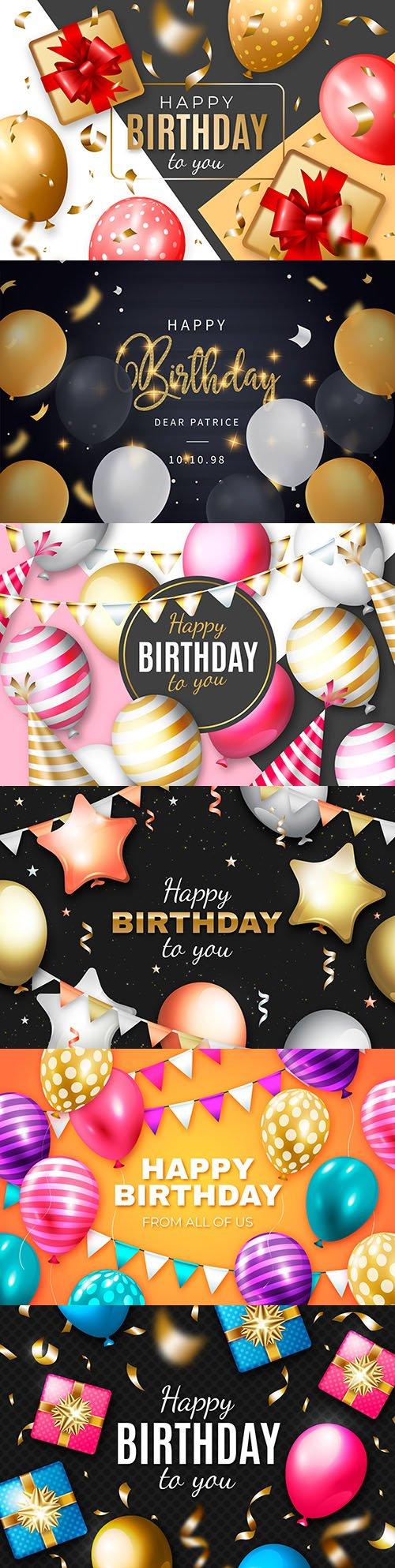 Happy birthday holiday invitation realistic balloons 14