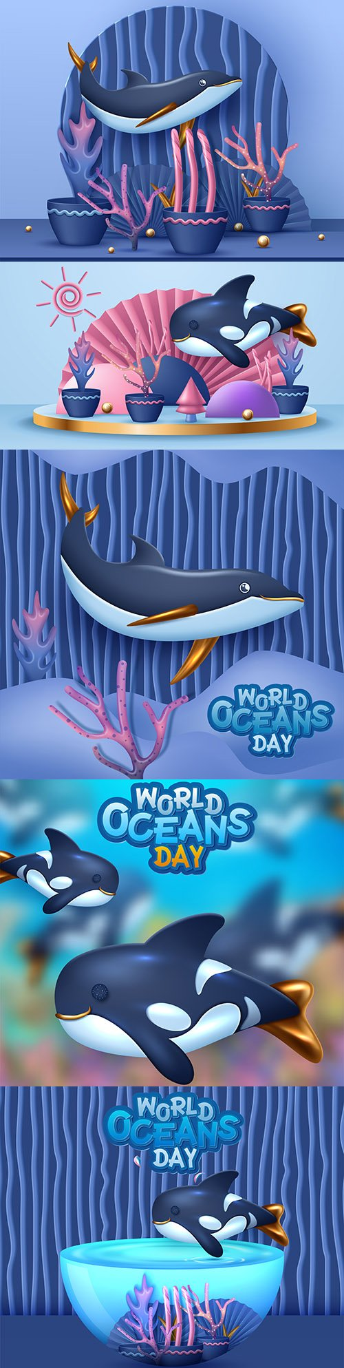 World ocean day with marine dwellers cartoon 3d illustrations