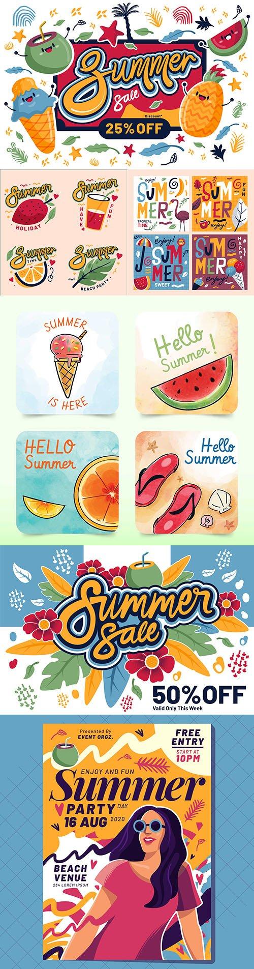 Colorful summer sale and flat design emblems