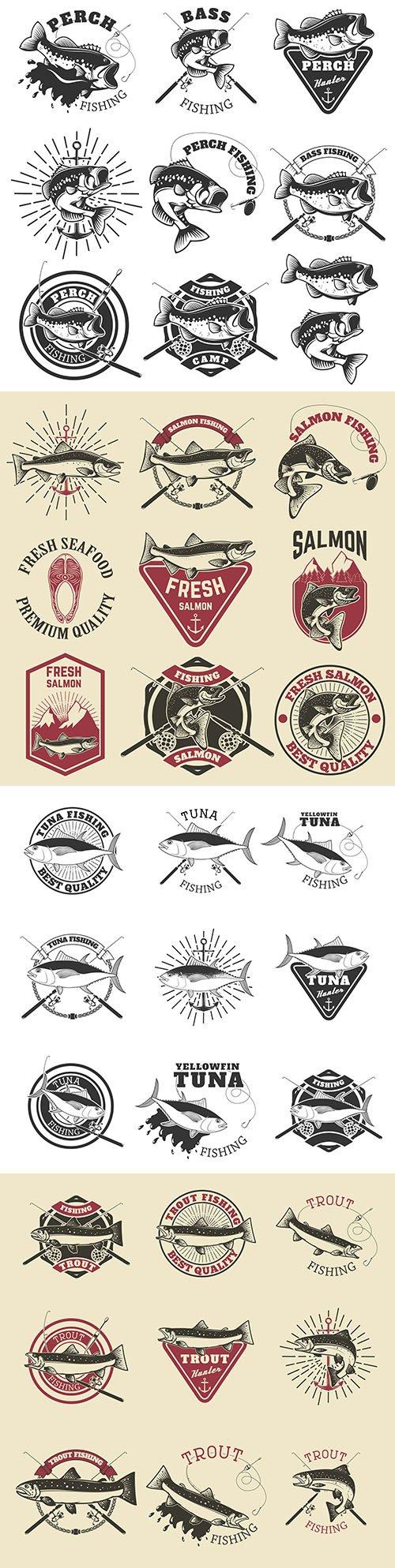 Tuna and salmon vintage emblem for fishing club
