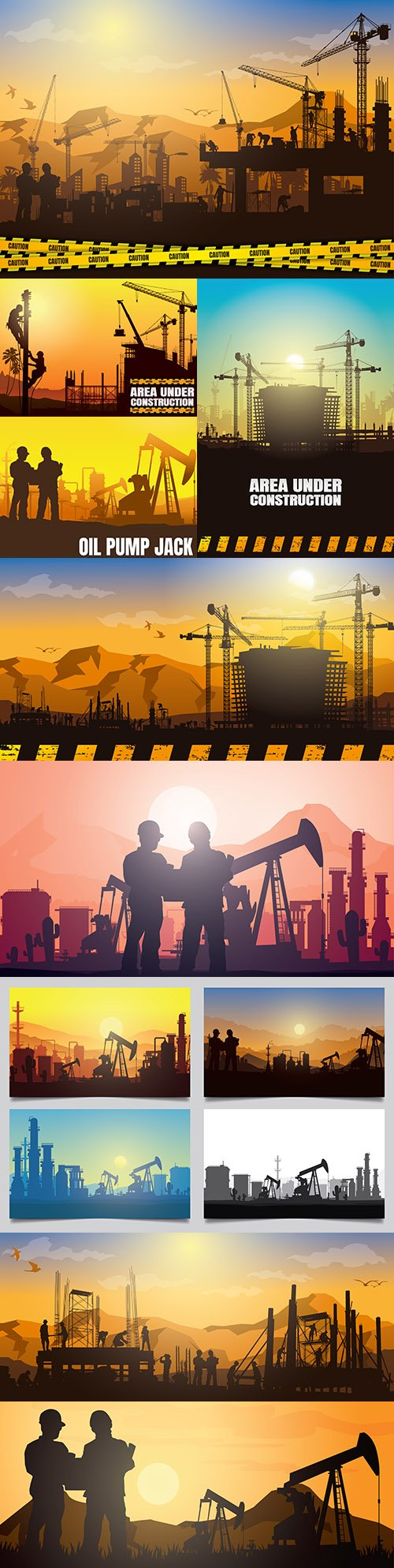 Oil rig and industry silhouettes background illustration