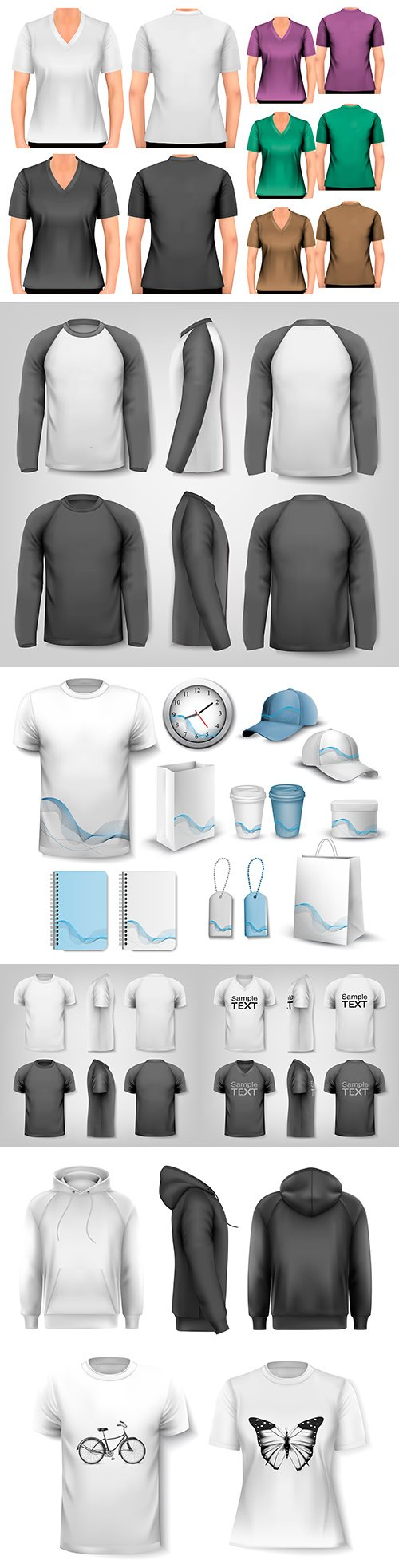 Female and male black and white T-shirt with sleeves