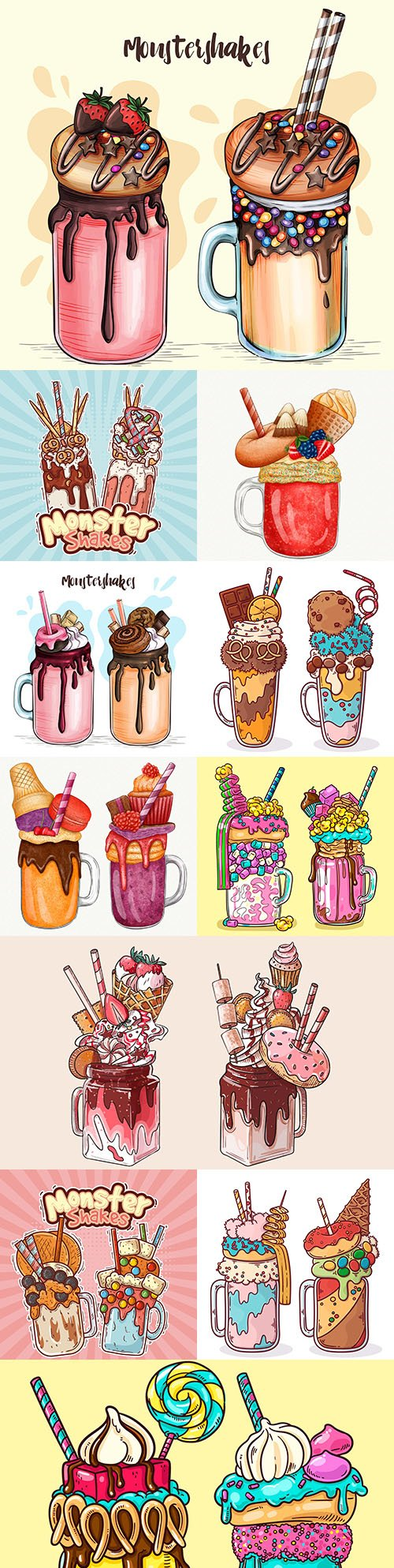 Tasty ice cream and monster shakes illustrations