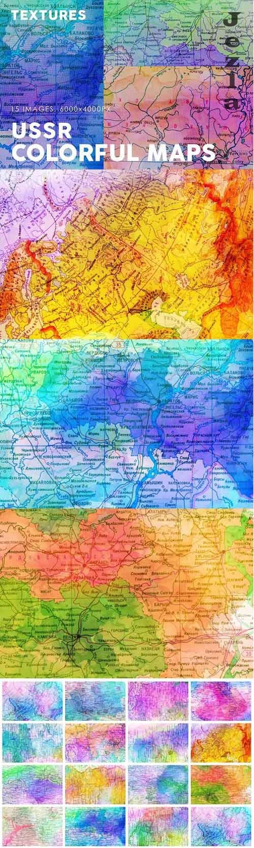 USSR Colorful Map Textures - 728411