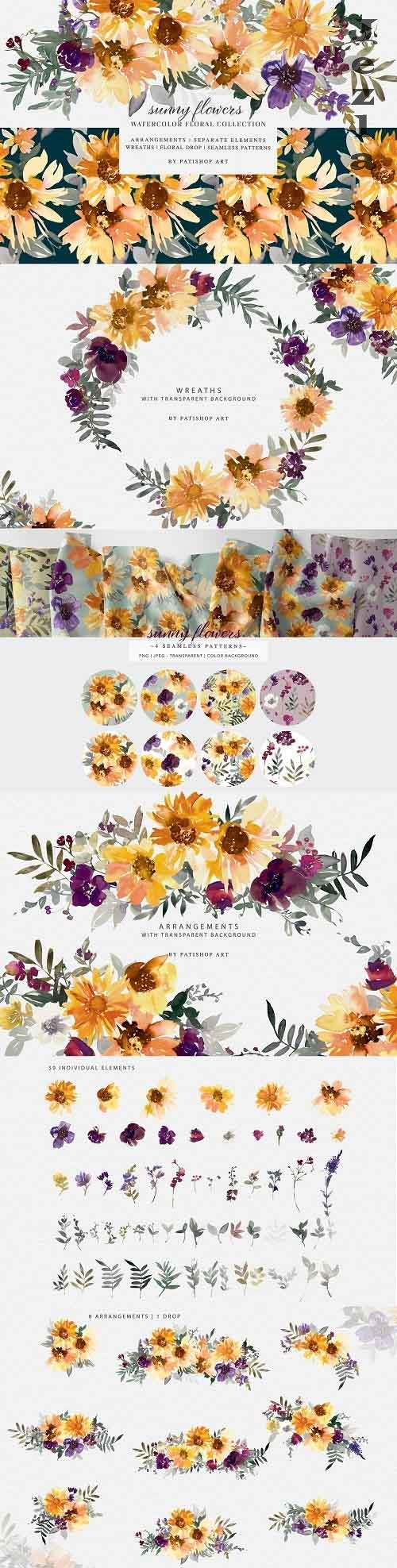 Watercolor Sunflower Clipart Set - 5158957