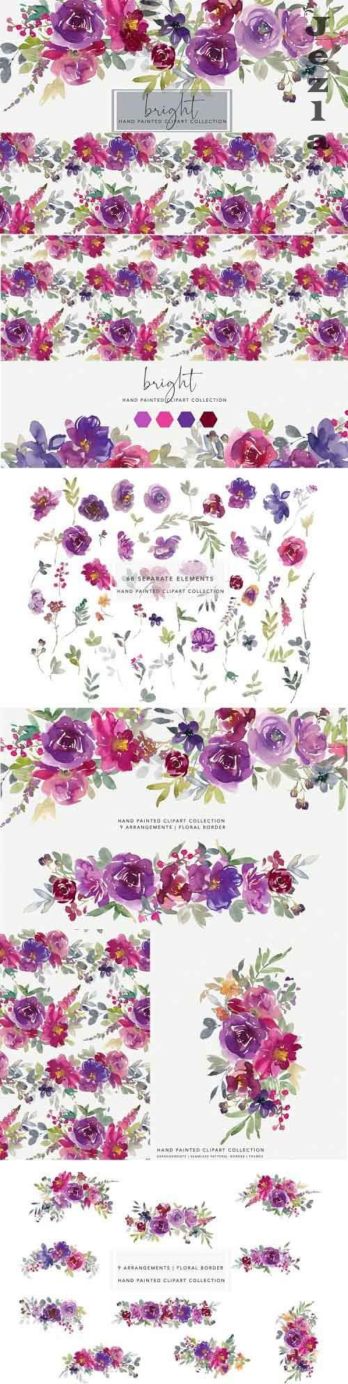 Purple and Magenta Watercolor Floral Clipart Set - 730786