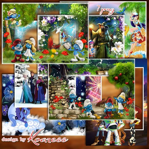 Сборник детских рамок для фото в формате png  со сказочными героями и персонажами мультфильмов